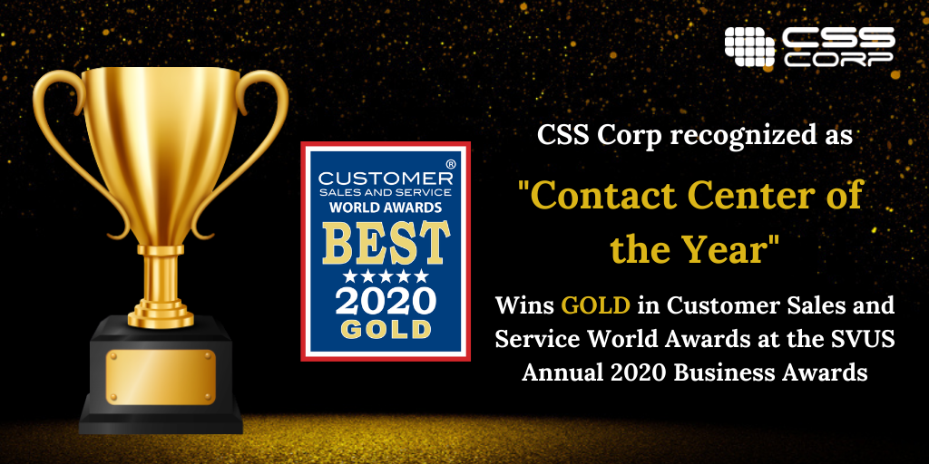 CSS Corp wins GOLD at the Customer Sales and Service World Awards 2020